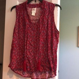 Red Printed Sleeveless Top